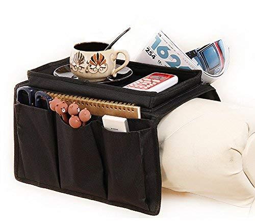 IPENNY Couch Sofa Armlehne Organizer Stuhl TV Fernbedienung Halterung Bett Storage Tasche für Handy Tablet Notizblock Buch Zeitschriften DVD, Tränke Snacks Halter Tasche Black (with Top Tray) Heavy Duty Tray