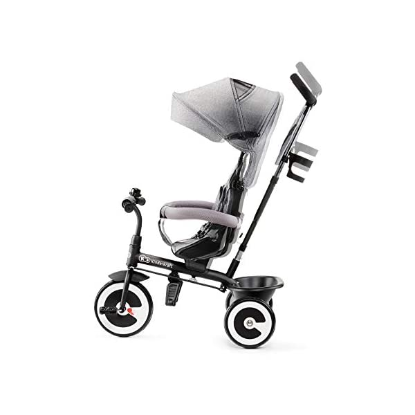 Kinderkraft Aston KKRASTOGRY0000 Tricycle with Accessories in 3 Colours Grey kk KinderKraft Five point safety straps for the shoulders and an additional strap between the legs to protect the child from falling out A mechanism that connects the parent handlebar with the child's handlebar so that parents can have full control over the bike guidance when required. Free-wheel that causes the child to rmble freely regardless of the person who leads the bike 6