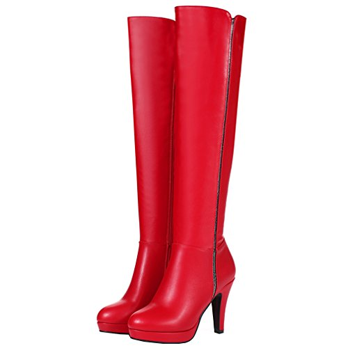 ENMAYER Femmes Sexy Party High Heel Ronde Toe Plateforme Bottes Hautes Taille Rouge
