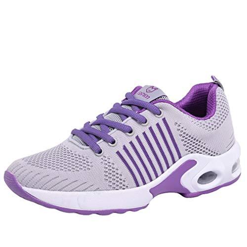 Meilily Damen Leicht Air Schuhe Laufschuhe Mesh Atmungsaktive Sportschuhe Sneaker Männer Turnschuhe Damen Schuhe Einfach Heiß Sport Fitnessschuhe Jogging Trainer Running Gym Outdoor Schwarz Rosa