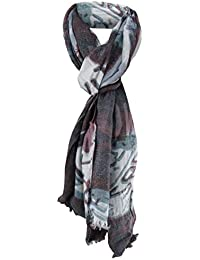 2b0f2b419aba04 Schal in petrol grau schwarz rotbraun gemustert - kleine Fransen - 180 x 50  cm