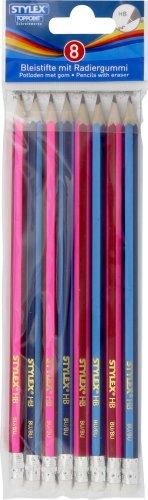 8er Packung Bleistifte, mit Radiergummi
