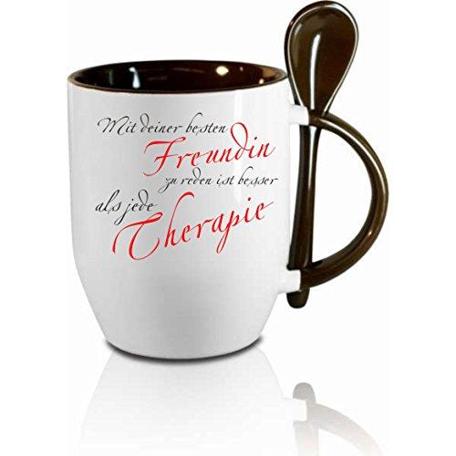 Tasse m. Löffel 'Mit deiner besten Freundin zu reden...' Löffeltasse, Kaffeetasse mit...