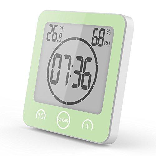 LEEBA Digital LCD Wasserdicht Badezimmer Dusche Uhr Saugnapf Countdown Alarm Timer Temperatur Luftfeuchtigkeit grün - Lcd Dusche Uhr