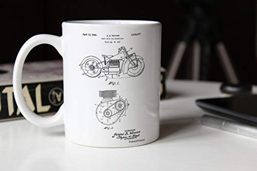 Ethelt5IV Motorrad Antriebswelle Patent Becher Motorrad Teile Jungs Geschenk Motorrad Becher Teen Room Decor Mann H?hle PP0892