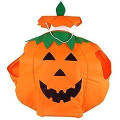 Idea Regalo - Tenlacum Generico Abbigliamento Unisex Fancy Dress Zucca Vestito per Halloween Costume Party, Zucca di Halloween Cosplay Tute Costume per Masquerade Decoration(Bambino)