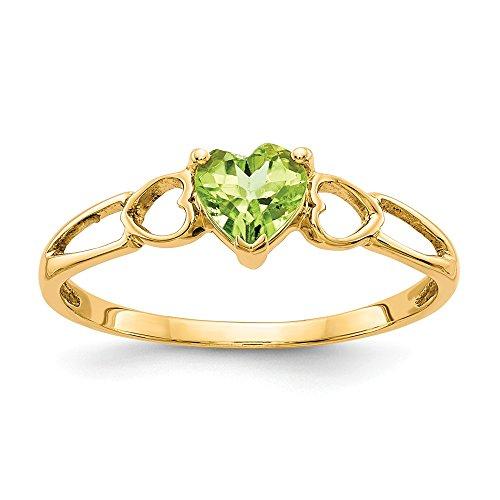Diamond2deal Verlobungsring 14 Karat Gelbgold Peridot Solitär Größe 7 (0,48 Karat)