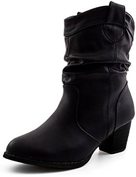 Damen Stiefel Stiefeletten Western Biker Boots Lederoptik