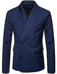 LaoZanA Giacche Uomo Elegante Blazer Slim Fit Cappotti Senza Maniche Blu XL eb7e2eeb21c