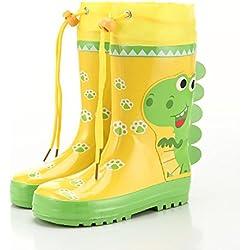 Tiempo libre Niños Lluvia Zapatos Cómic Dinosaurios Conejo antideslizante Lluvia Botas, amarillo