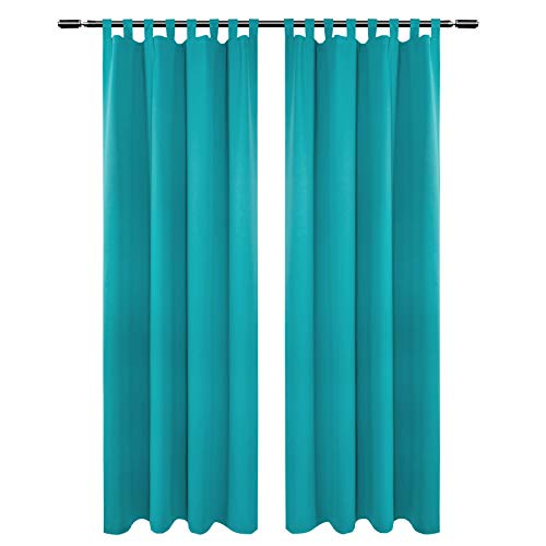 Woltu vh5899ts-2 tende classiche drappeggi tende oscuranti opache per camera da letto decorazione finestra 2 pannelli 135x225cm turchese