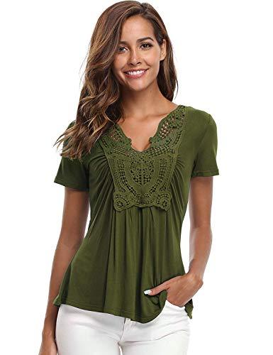 Miss Moly Blusen und Tops für Damen Hemden Klassischer tiefer V Tops mit kurzen Ärmeln Geraffte Vorderseite Plain Army Green - XL -