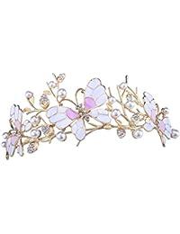 Santfe boda novia Prom Shining Crystal Mariposas y brillantes corona diadema con perlas de imitación (plateado/Chapado en oro Veil tiara