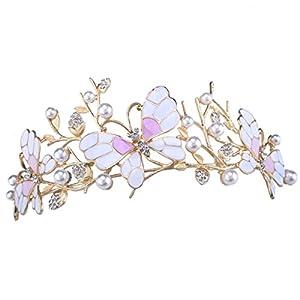 santfe Hochzeit Brautschmuck Prom Shining Crystal Strass Schmetterling Krone Stirnband Faux Pearl Silber/vergoldet Schleier Tiara