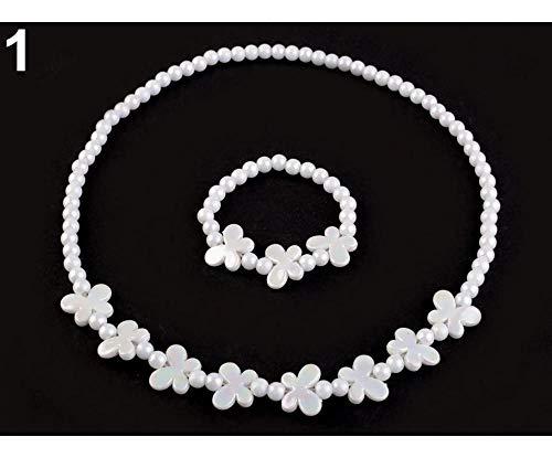 1set 1 Weiß Kinder Set Halskette Und Armband, Modeschmuck, Mädchen Sets