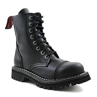 ANGRY ITCH - 8-Loch Gothic Punk Army Ranger Armee schwarze Leder Stiefel mit Stahlkappe 36-48 - Made in EU!, EU-Größe:EU-47