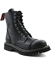 c11c4b5e18559f Angry Itch Combat Boots Black Leather Unisex Ladies Men s 8 Eye Military  Army Punk Steel Toe