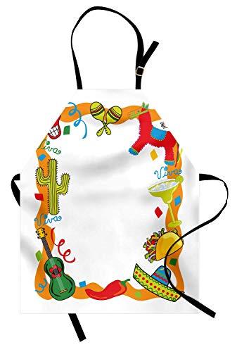 Fiesta Schürze, Cartoon-Zeichnung Stil mexikanischen Pinata Taco Chili Pepper Sugar Skull Pattern Gitarre, Unisex-Küche Latzschürze mit verstellbarem Hals zum Kochen Backen Gartenarbeit, Multicolor