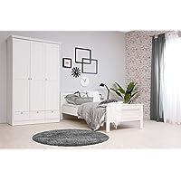moebel-dich-auf Stockholm Mädchenzimmer Jugendzimmer Schlafzimmer komplett Set im Landhaus Stil in weiß mit Bett 90x200, 1 Nachttisch und Kleiderschrank 120 x 200 x 51 cm in weiß - preisvergleich