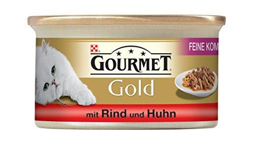 Gourmet Gold Katzenfutter Feine Komposition mit Rind und Huhn, 12er Pack (12 x 85 g) Dosen
