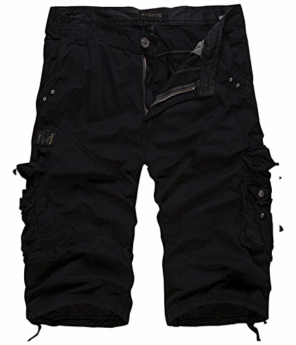 UMilk Herren Casual Baumwolle Solid Multi Pocket Cargo Shorts Capri Hose (Multi-pocket-capri-hose)