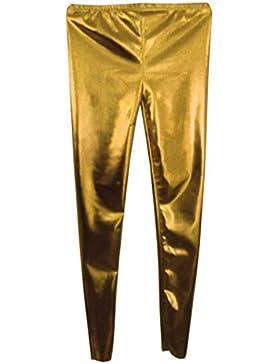 Bambini Ragazze Donna Disco metallico lucido Leggings