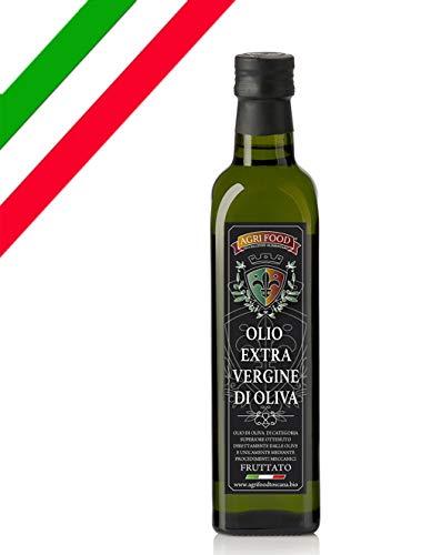 """Olio Extra Vergine D'Oliva Agrifood """"ORO"""" Grezzo Fruttato ITALIANO Prima Spremitura a Freddo, Ultimo RACCOLTO 0,5 Litri"""