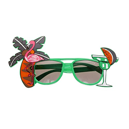 Flamingo Cocktail Hawaiische Sonnenbrille Fancy Dress Spaßbrillen Brille Kostüm - Grün, - Cocktail Fancy Dress Kostüm