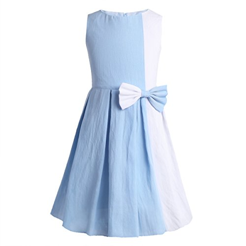CHICTRY Girl's Children Color Block Contrast Bow Tie Birthday Casual Dance Party Dress