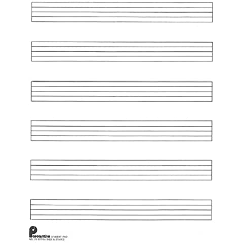 Passantino Music Papers: Writing Pad No. 15: 6-stave (Extra Wide), Size 8 x 10.5