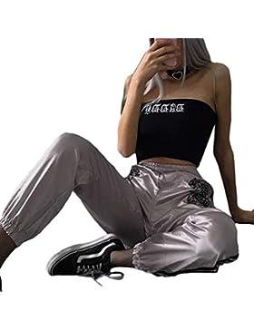 Wefchogvr Pantalones Deportivos de Corte Suelto con Estampado de Tigre Sedoso Satinado Sedoso