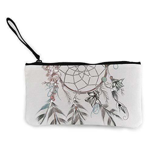 Monedero de lona con diseño de plumas y flores con diseño de atrapasueños
