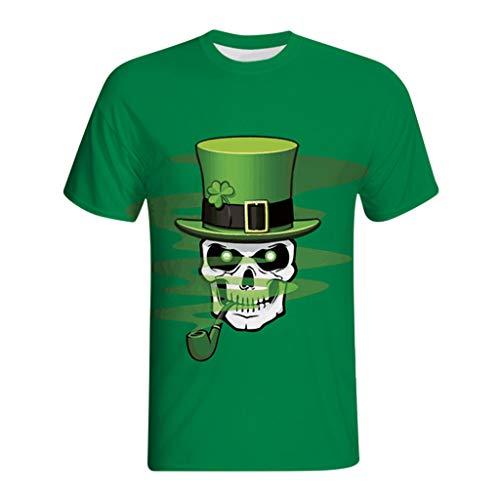 Grüne Männer Kostüm - Yumimi88 Männer 3D-Druck Lässige St. Patrick's Day Kurzarm-Shirt Top Bluse Irland Shirt Leprechaun Kostüm Patrick T Shirt (Grün, XXXXL)
