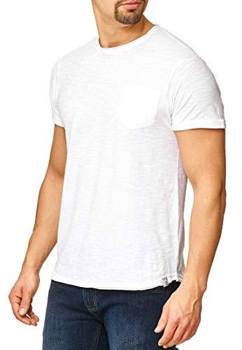 Indicode Herren Willbur Herren T-Shirt Kurzarm Shirt mit Rundhalsausschnitt 30 Farben S-3XL White Pocket M - Farbe Logo-t-shirt