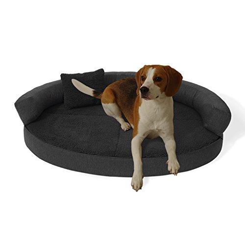 brunolie Peppo Hundebett waschbar, orthopädisch und rutschfest, Hundekissen mit kuscheligem Plüsch, Größe M, dunkelgrau