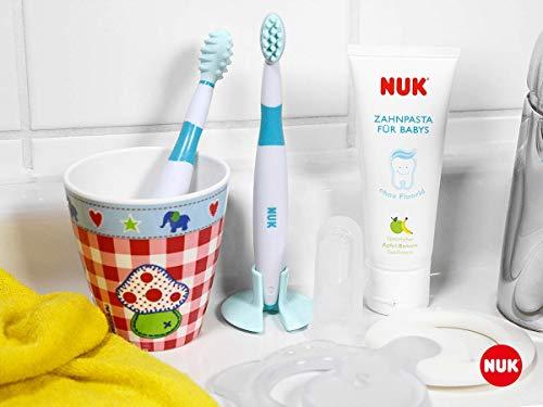 NUK 10256396 Mundpflege-Set mit Baby-Zahnpasta und natürlichem Apfel-Banane Geschmack, incl. Fingerzahnbürste, BPA frei, ohne Fluorid, 1 Stück - 2