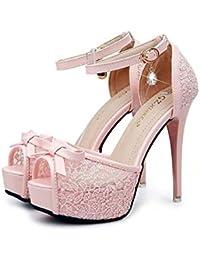 Bomba Scarpin Correa de tobillo Bowknot Plataforma gruesa Tacón alto Sandalias De las mujeres Dulce Peep Toe Hueco Cordón Hebilla del cinturón Sandalias Zapatos De Vestir Zapatos de boda Zapatos de fi , pink , 36