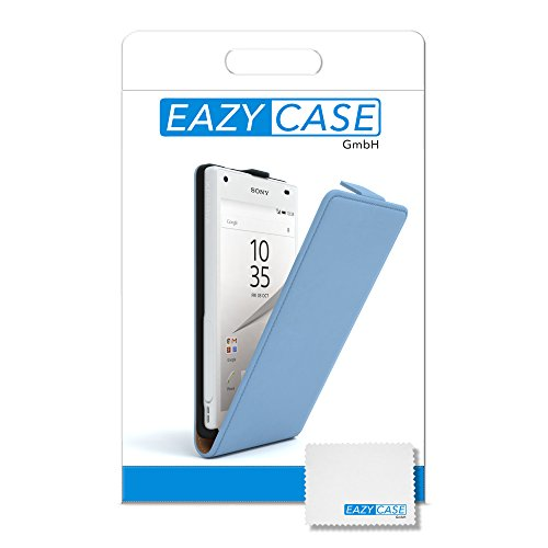 Sony Xperia Z5 Compact Hülle - EAZY CASE Premium Flip Case Handyhülle - Schutzhülle aus Leder in Hellblau Hellblau (Flip)