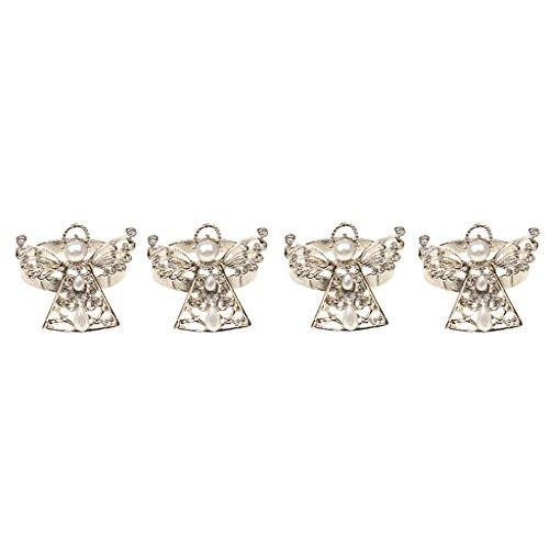 Lot 4pcs Métal Ronds de Serviette en Forme d'Ange Orné de Faux Perles Décoration Table pour Noël