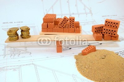 "Alu-Dibond-Bild 140 x 90 cm: ""Baukosten Waage"", Bild auf Alu-Dibond"