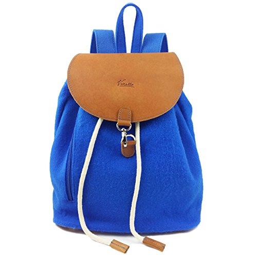 109287cf45341 Venetto Designer Rucksack aus Filz und Leder Elementen sehr leicht backpack  unisex Grau Blau hell