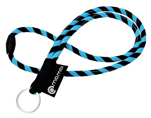 mia Mai Tubular Lanyard (Blau/Schwarz, 45 cm), Schlüsselband mit Sicherheitsverschluss, Schlüsselring Schlüsselanhänger (Schlüsselband Nike)