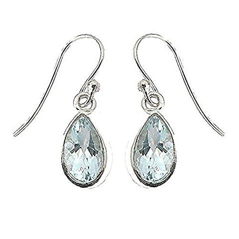 925 Sterling Silver Blue Topaz Tear Drop Fish-hook Earrings -