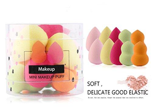 Gracelaza 10 pièces Blender Éponge de Maquillage - Pour appliquer base, fond de teint, correcteur - Poudre libre sans latex, hypoallergénique et sans odeur