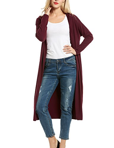 Beyove Damen Strickjacke mit Spitze Offene Cardigan Strickmantel Outwear Langarm mit Kapuze Mantel Coat (EU 36(Herstellergröße: S), C+WeinRot)