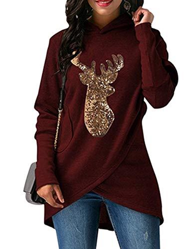 Lrud Damen Hässliche Weihnachts Hoodies Pailletten Rentier Umhang mit Langen Ärmeln Tops Kraut Sweatshirt Sweater Weinrot l