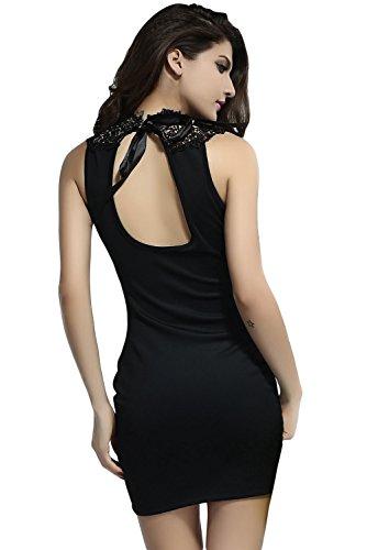 Dissa® femme Noir Vert SY2900-2 mini robe Noir Vert
