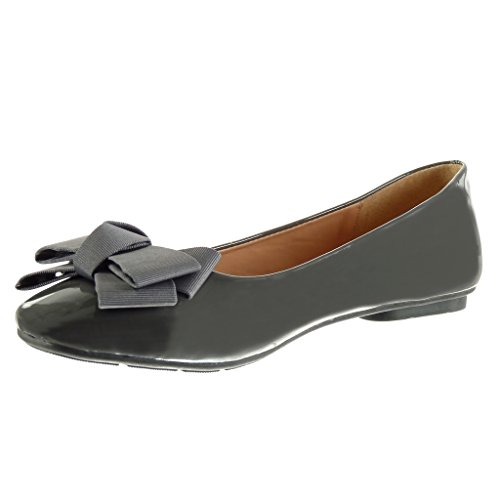 Angkorly - damen Schuhe Ballerina - Slip-On - Knoten - Patent flache Ferse 1 CM Grau