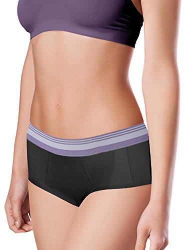 Intimate Portal Damen Leichte Absorbierende Schutzslips Für Periode Menstruation Inkontinenz Schwarz Grau Violett 3er-Pack S