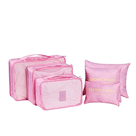 6PCS/Set Waterproof Clothes Storage Bags Packing Cube Travel Luggage Organizer Bag (Pink)